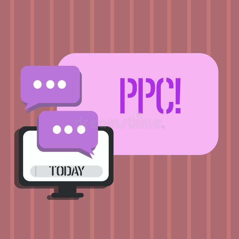 Ppc för ordhandstiltext Affärsidé för lön per klicken som annonserar direkt trafik för strategier till Websites stock illustrationer