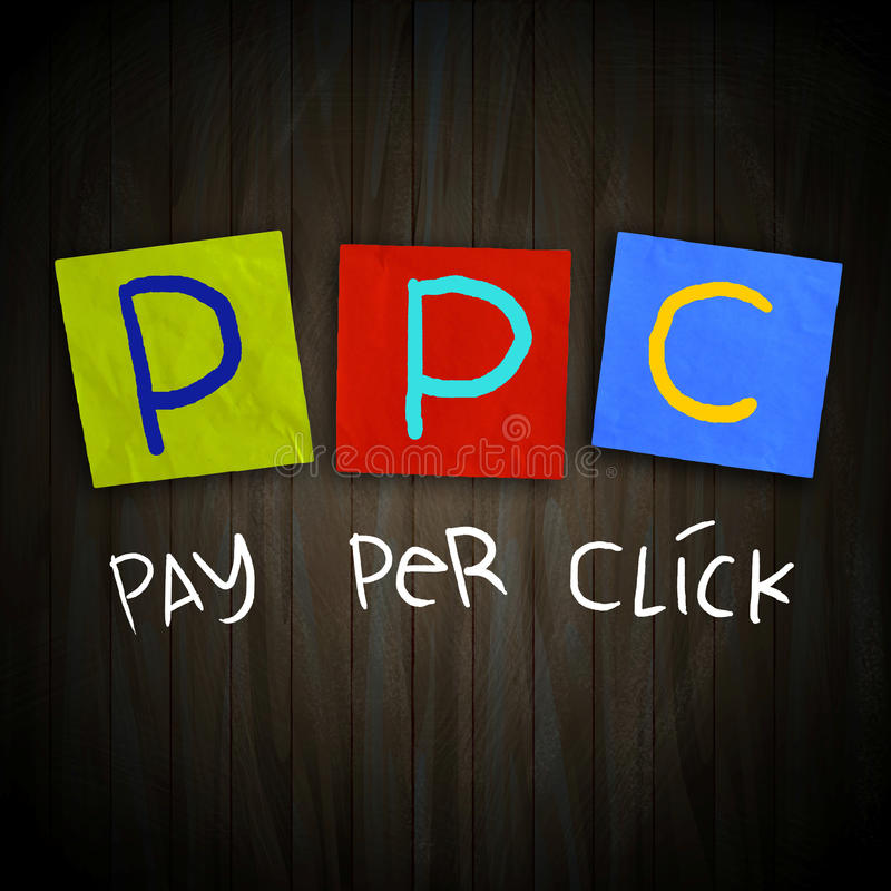 PPC Pay Per Click. The words PPC Pay Per Click written on sticky colored paper over dark wooden planks stock image