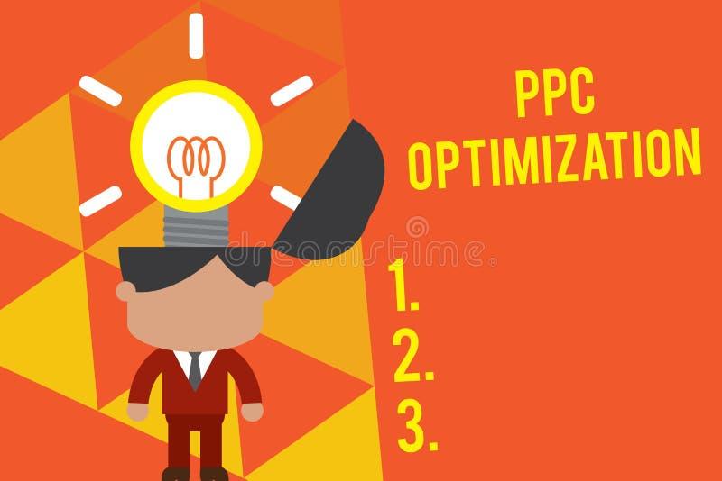 Ppc van de handschrifttekst Optimalisering Concept die Verhoging van zoekmachineplatform betekenen voor loon per klik Status royalty-vrije illustratie