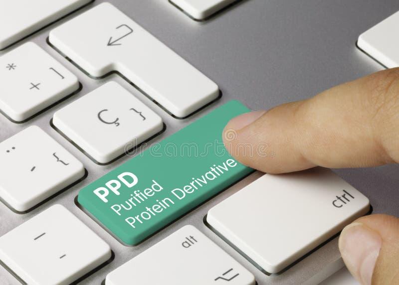 PPD Purified Protein Derivative - Inschriftensetzung auf grünem Tastaturschlüssel lizenzfreie stockfotos