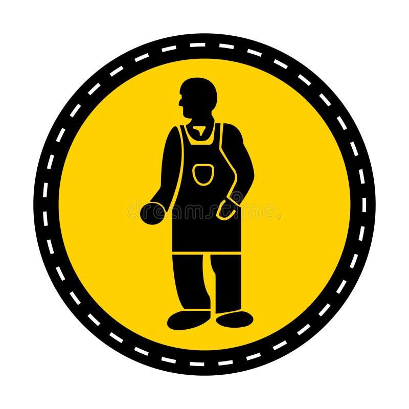 PPE? 佩带防护服装在白色背景,传染媒介例证的标志孤立 库存例证