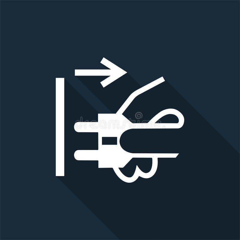 PPE? 断开主要从在黑背景,传染媒介例证的电子出口标志标志孤立塞住 库存例证