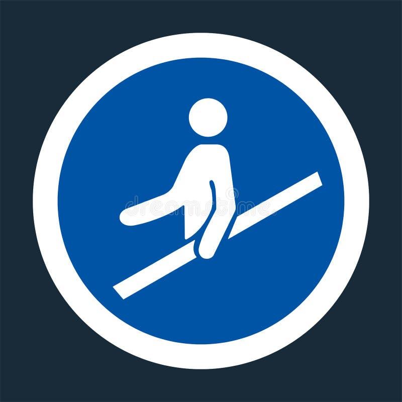 PPE? 用途扶手栏杆在黑背景,传染媒介llustration的标志标志 向量例证
