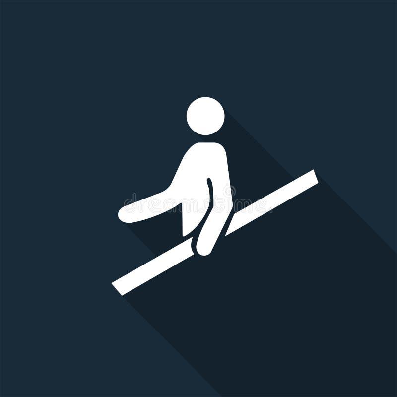 PPE? 用途扶手栏杆标志在黑背景,传染媒介例证的标志孤立 皇族释放例证