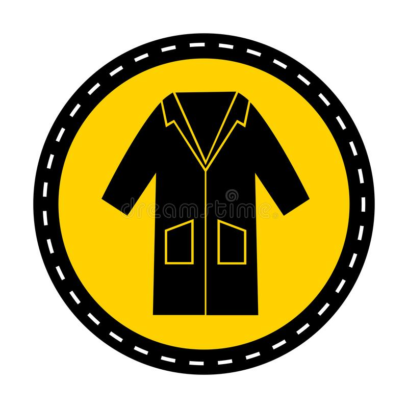 PPE? 穿戴工作服标志在白色背景,传染媒介例证的标志孤立 向量例证