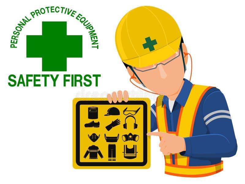Ppe-säkerhetsvarning stock illustrationer
