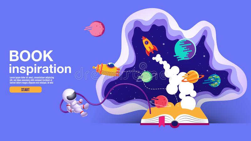 ?ppen bok, utrymmebakgrund, skola, l?sning och l?ra, fantasi och inspirationbild Fantasi och id?rikt, vektorl?genhet royaltyfri illustrationer