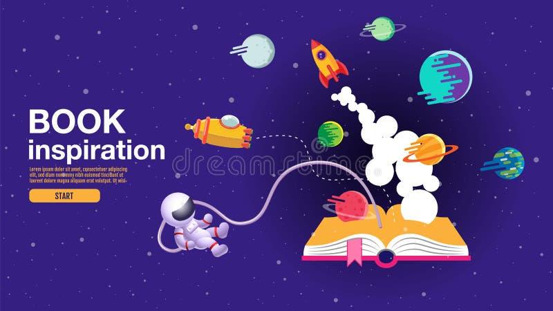 ?ppen bok, utrymmebakgrund, skola, l?sning och l?ra, fantasi och inspirationbild Fantasi och id?rikt, vektorl?genhet stock illustrationer