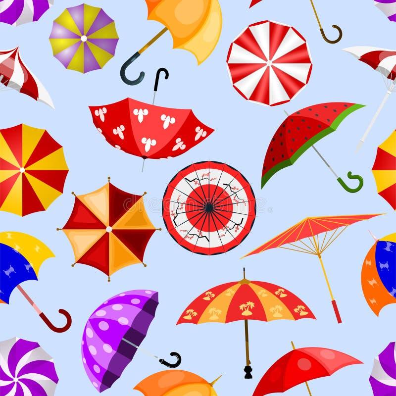 ?ppet paraply-format regnigt skydd f?r paraply vektor eller st?ngd och slags solskyddillustrationupps?ttning av den skyddande r?k stock illustrationer