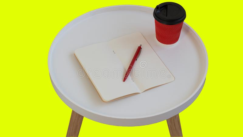 ?ppet tomt tomt anm?rkningspapper med den r?da pennan, den r?da pappkoppen kaffe som g?r p? den vita runda tidskriftstr?tabellen, royaltyfria bilder