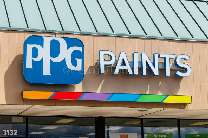 Westfield - Circa July 2018: PPG Paints retail location. PPG Industries, is a supplier of paints, coatings, specialty materials I. PPG Paints retail location royalty free stock photography
