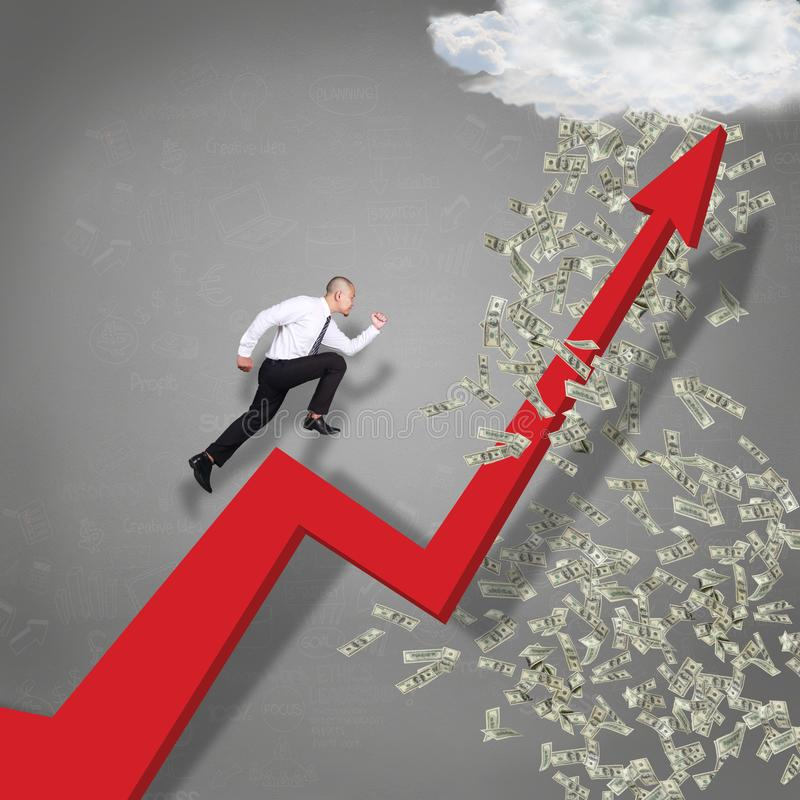Running Trough Business Growth Arrow to Rain of Money vector illustration
