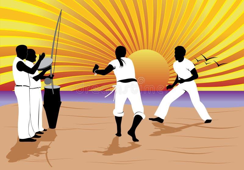 Práctica de Capoeira ilustración del vector