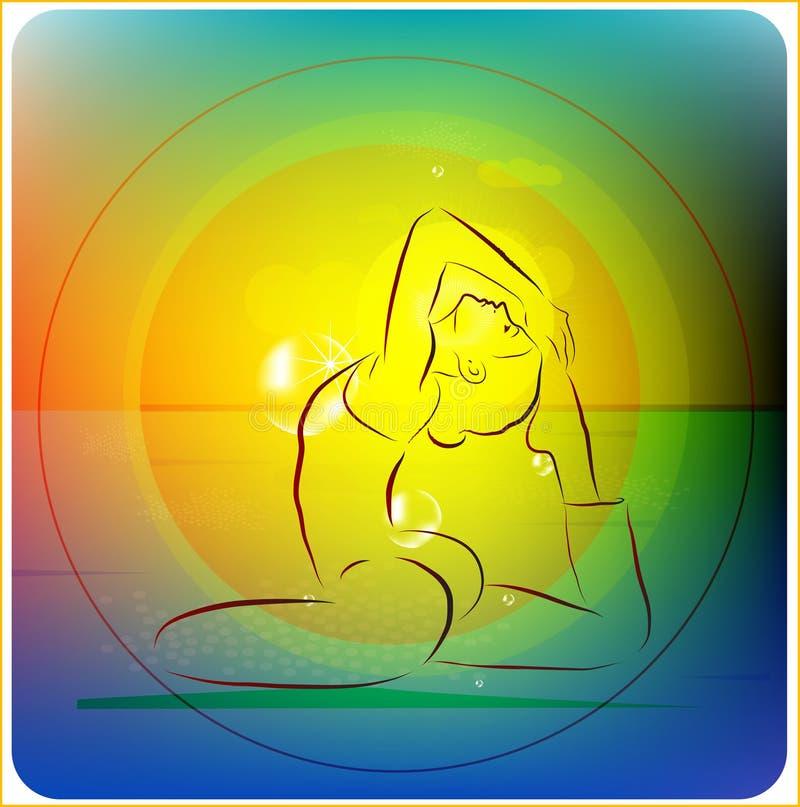Práctica de la yoga ilustración del vector