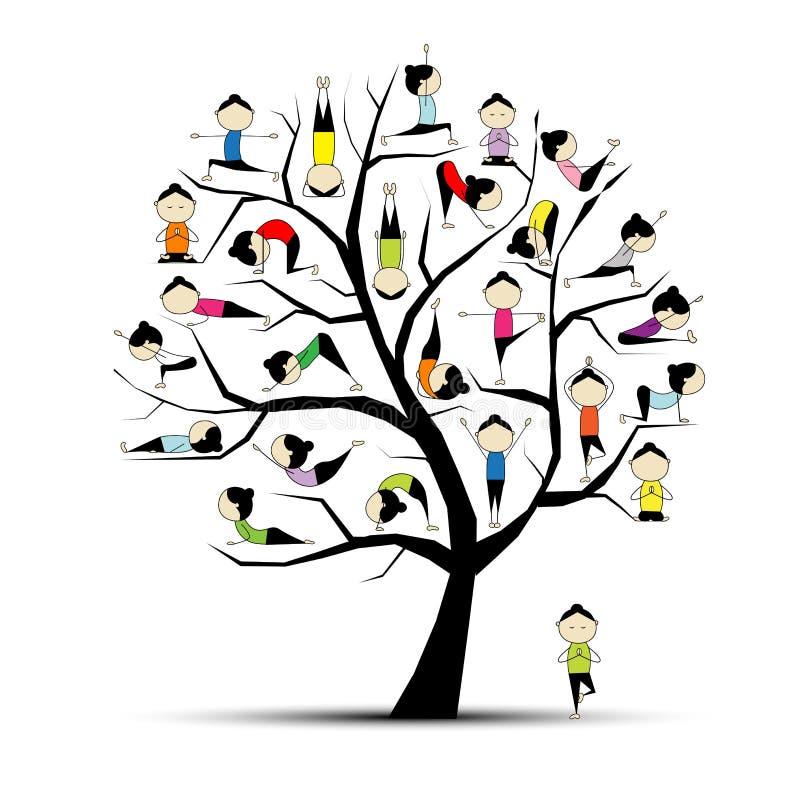 Práctica de la yoga, concepto del árbol para su diseño libre illustration