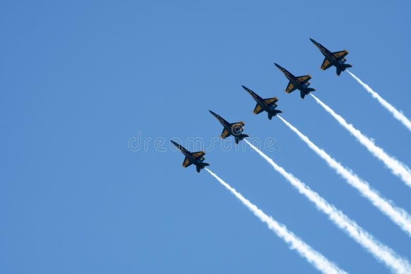 Práctica de los ángeles de azules marinos de los E.E.U.U. en Pensacola la Florida julio de 2018 foto de archivo libre de regalías