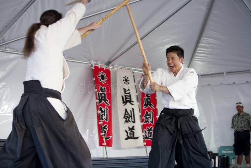 Práctica de Shinkendo fotos de archivo