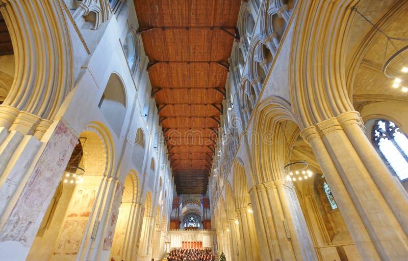 Práctica de St Albans Abbey Quire arquitectura normanda fotos de archivo libres de regalías