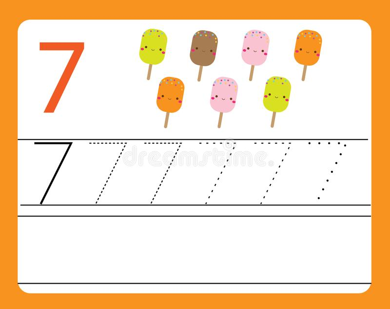 Práctica del cursivo Aprendizaje de números con los caracteres lindos Número siete Hoja de trabajo imprimible educativa para los  ilustración del vector