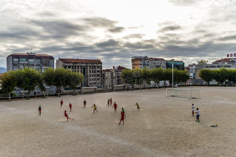 Práctica del fútbol en Vigo - España fotografía de archivo