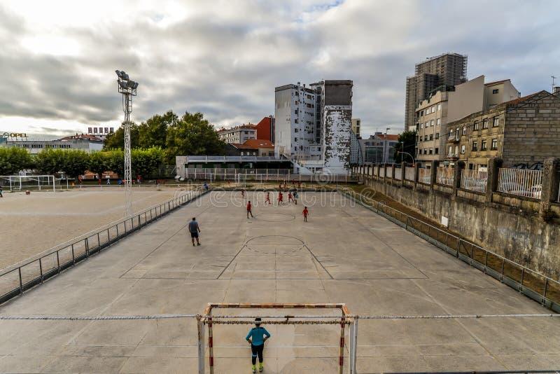 Práctica del fútbol en Vigo - España fotografía de archivo libre de regalías