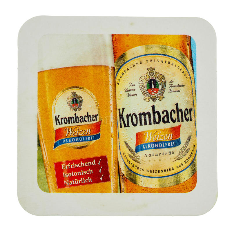 Práctico de costa de la bebida de Beermat aislado imagenes de archivo