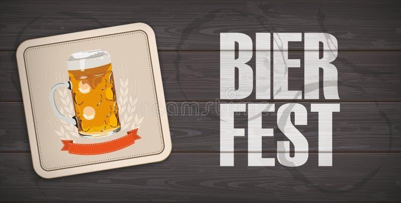 Práctico de costa de madera oscuro Bierfest de la cerveza del cartabón del fondo stock de ilustración