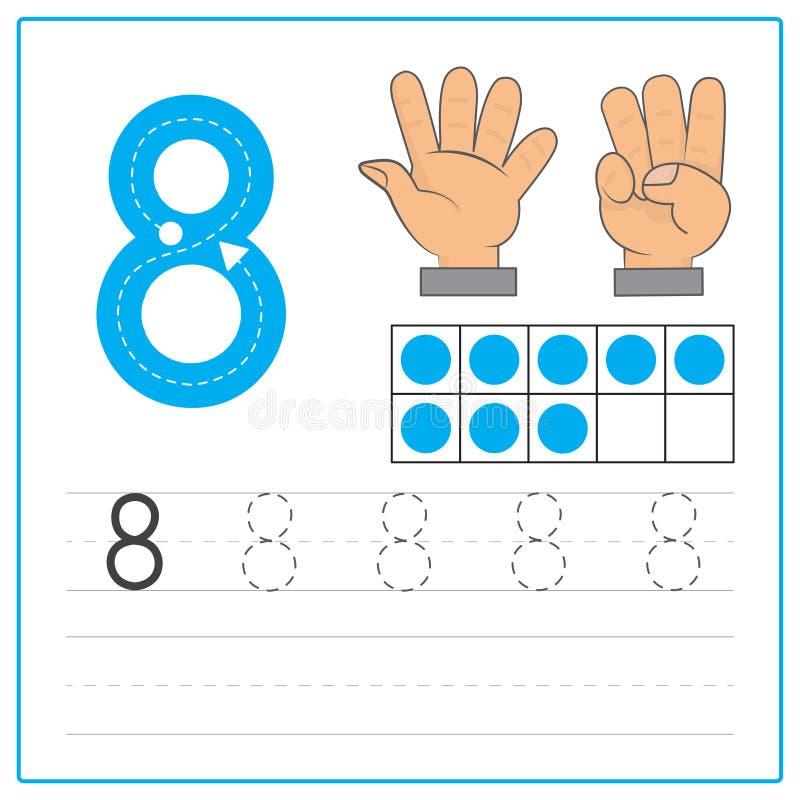 Prática 8 da escrita do número ilustração stock