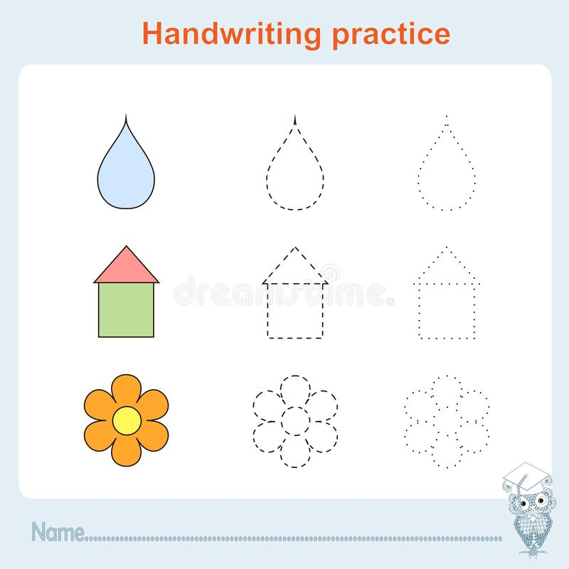 A prática da escrita, jogos caçoa, caçoa a folha da atividade, treinando a prática da escrita ilustração do vetor