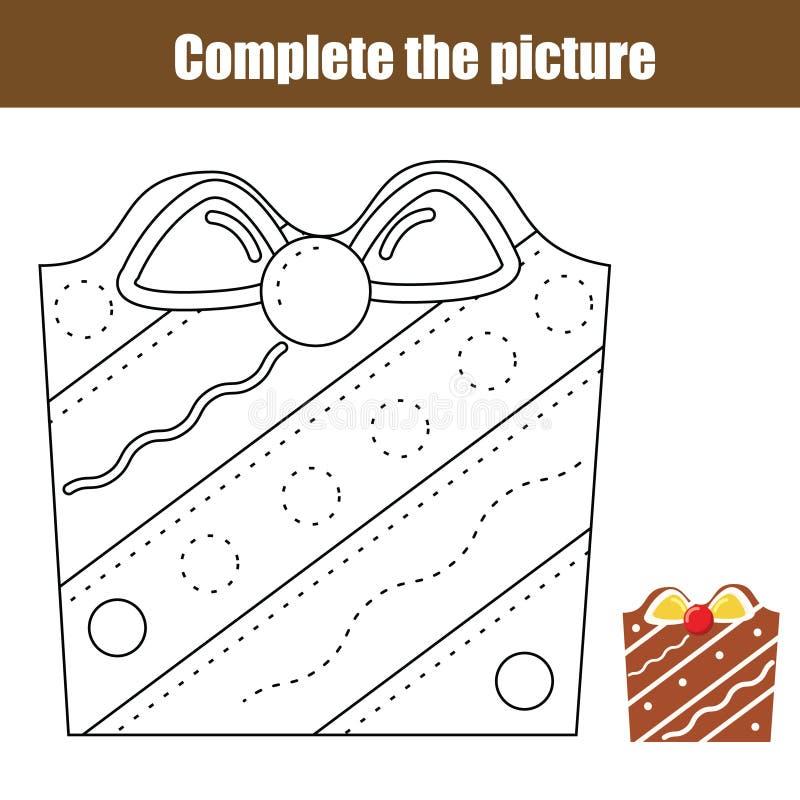 Prática da escrita Linhas de traçado jogo educacional das crianças Atividade imprimível da folha Ano novo, tema dos feriados do N ilustração stock