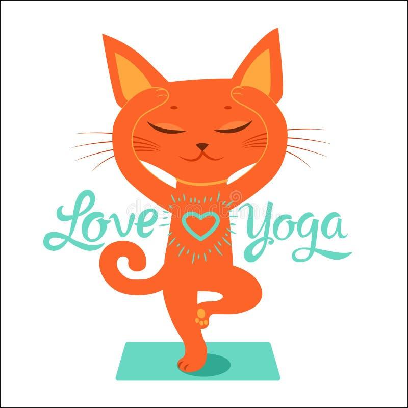 A prática da ioga Sinta como uma deusa Desenhos animados Cat Doing Yoga Position engraçada ilustração royalty free