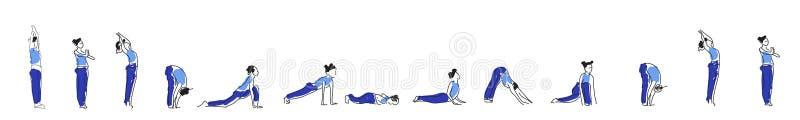 Prática do asana da ioga com símbolo do OM na ilustração do vetor dos lótus ilustração royalty free