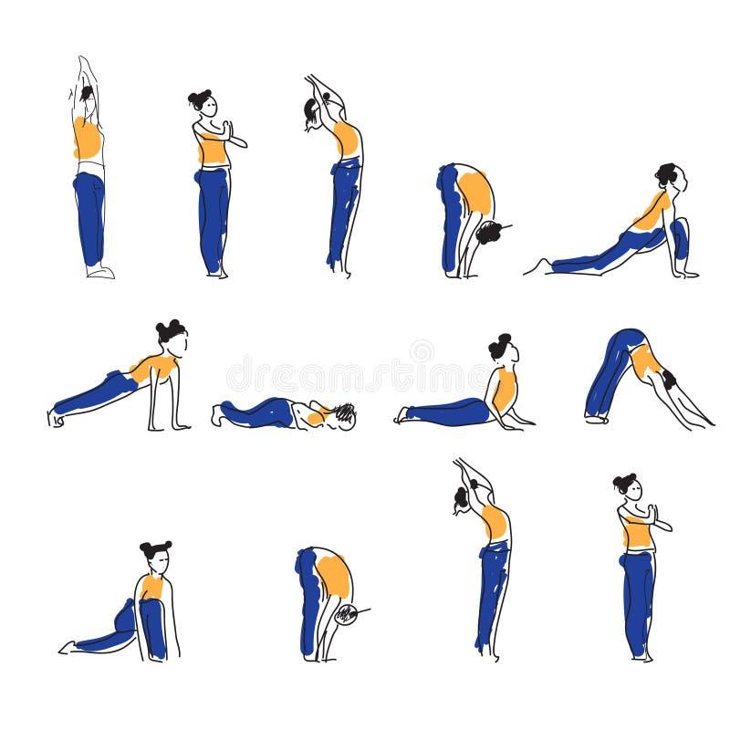 Prática do asana da ioga com símbolo do OM na ilustração do vetor dos lótus ilustração stock