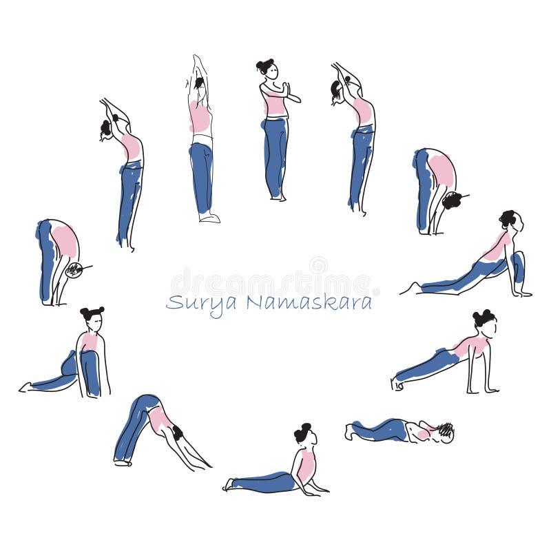 Prática do asana da ioga com símbolo do OM na ilustração do vetor dos lótus ilustração do vetor