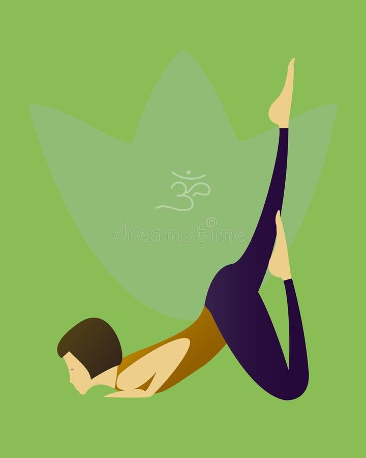 Prática do asana da ioga com símbolo do OM no vetor dos lótus ilustração royalty free