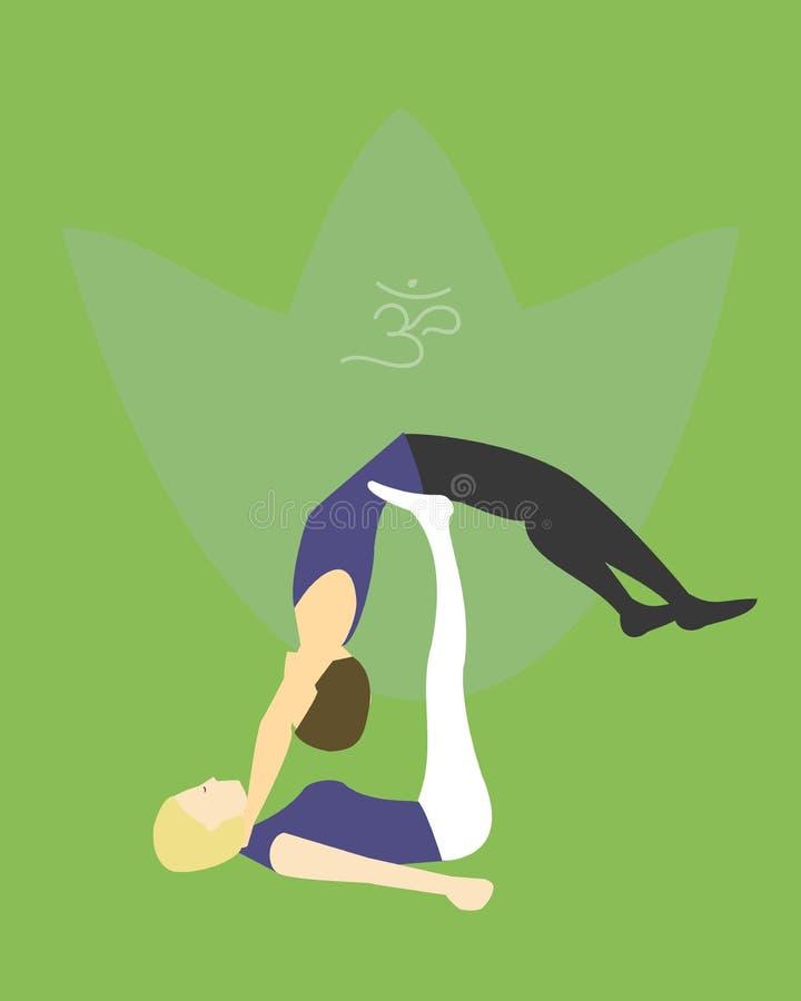Prática do asana da ioga de Acro com símbolo do OM nos lótus ilustração stock