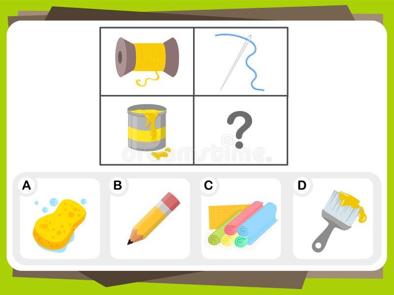 A prática questiona a folha para a educação e o teste do Q.I. ilustração stock