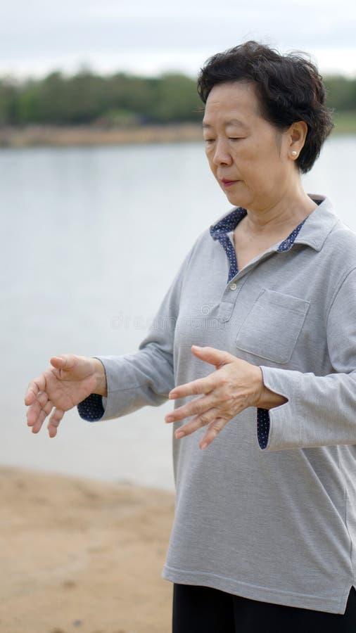 Prática superior asiática Taichi, exercício do gongo de Qi ao lado do lago foto de stock royalty free