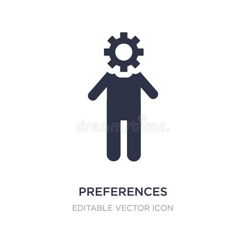 Präferenzikone auf weißem Hintergrund Einfache Elementillustration vom Leutekonzept lizenzfreie abbildung