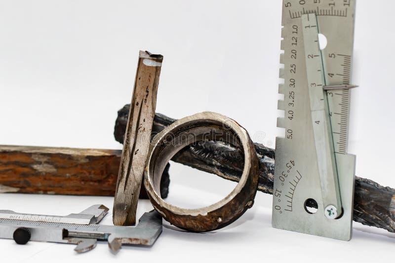 Próbki brakowe spawki z różnymi typami defekty obrazy stock