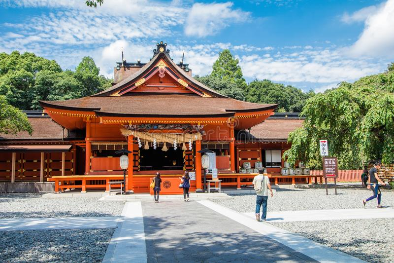 Präfektur Shizuoka, Japan - 19. August 2017: Fujisan Sengen Shri lizenzfreie stockfotos