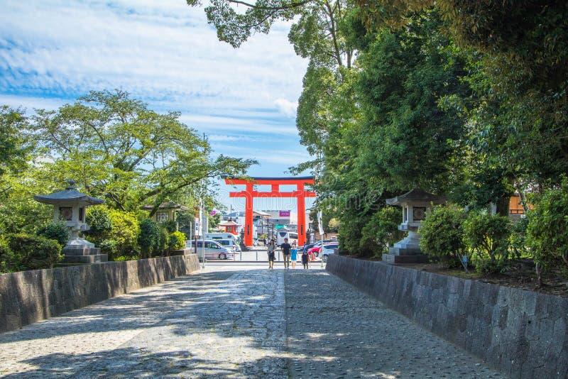 Präfektur Shizuoka, Japan - 18. Dezember 2016: Fujisan Sengen SH stockfotografie