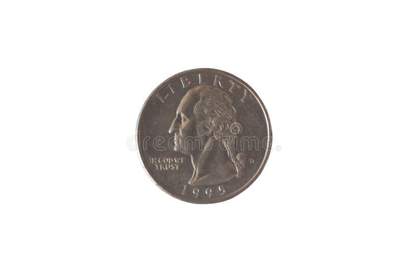 Prägen Sie USA 25 Cents mit dem Bild von George Washington und von Weißkopfseeadlern Ein Viertel eines Dollars Kupfernes überzoge stockbild