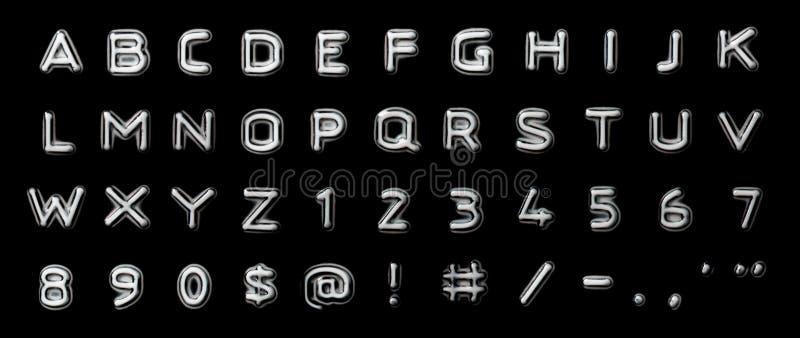 präglade bokstavsnummer vektor illustrationer