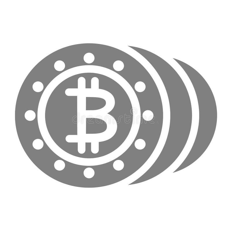 Prägt feste Ikone Cryptocurrency-Vektorillustration lokalisiert auf Weiß Bitcoins-Glyph-Artdesign, bestimmt für Netz lizenzfreie abbildung