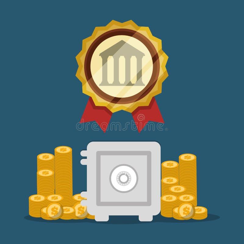 prägt sicherer Kastenstapel der Bank goldenes Emblem lizenzfreie abbildung
