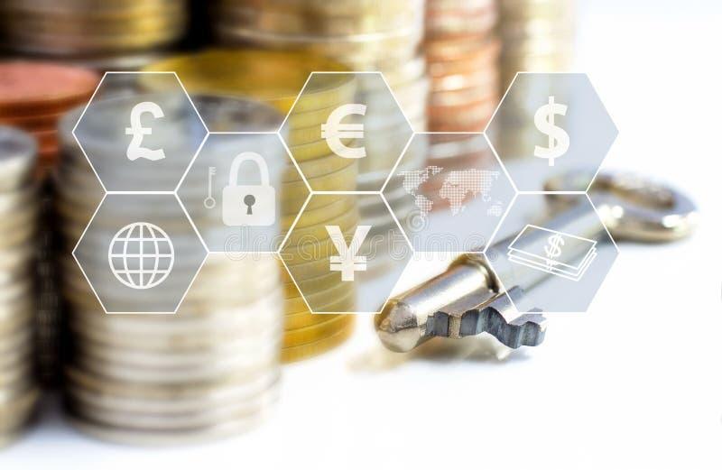 Prägt Stapel und Schlüssel mit der Ikone, die auf dem Tisch virtuell ist Das Konzept des Geschäftswachstums-, -finanz- oder -welt lizenzfreie abbildung