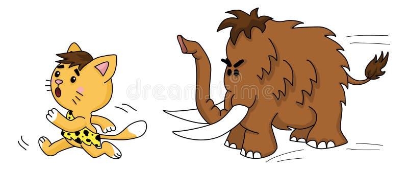 Prähistorische Katze läuft von Mammut 2d Illustration stockfoto