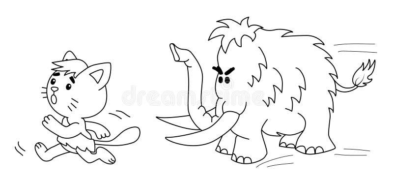 Prähistorische Katze läuft von Mammut 2 d-Illustration stockfotos
