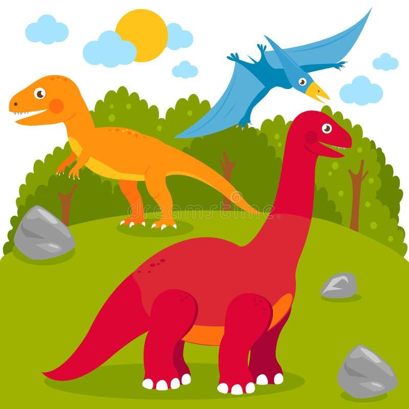 Prähistorische Landschaft mit Dinosauriern lizenzfreie abbildung